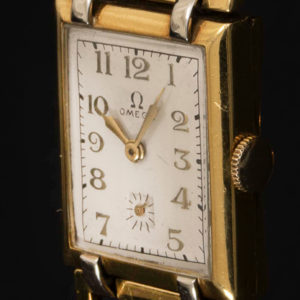 Omega rectangulaire aciet et Gold Filled Circa 1950