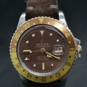 Rolex 1675 GMT Bicolore cadran chocolat