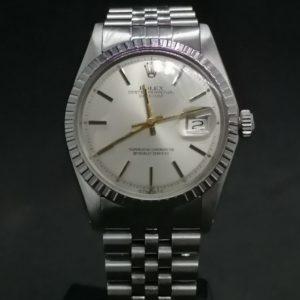 Rolex Datejust régéfence 1603 boite et papier, bracelet jubilé en acier, cadran argenté, mouvement mécanique automatique, boite et papier.