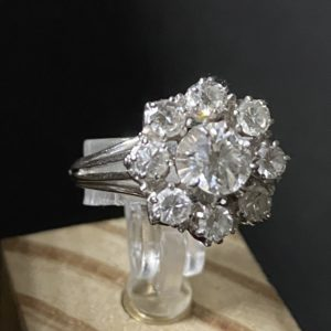 """Bague """"marguerite"""" Or Gris diamants et brillants"""