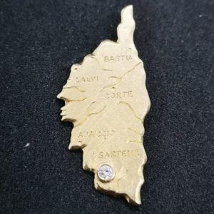 médaille carte de la Corse en or jaune avec un brillant